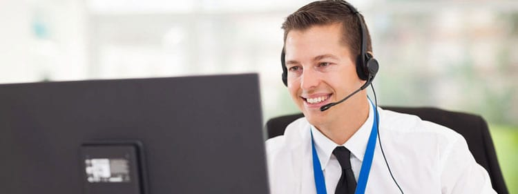 Answering service operator taking small business calls