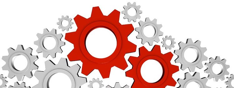 Gears representing elements of a small business process that can be outsourced to a BPO call center