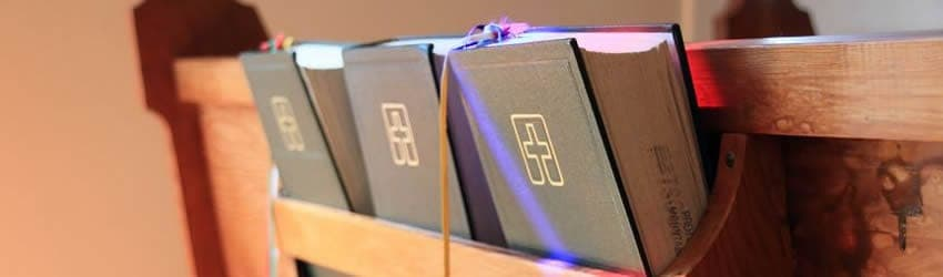 Bibles on the back of church pews