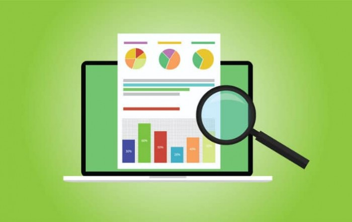 Business analyst with laptop notebook graph document flat illustration