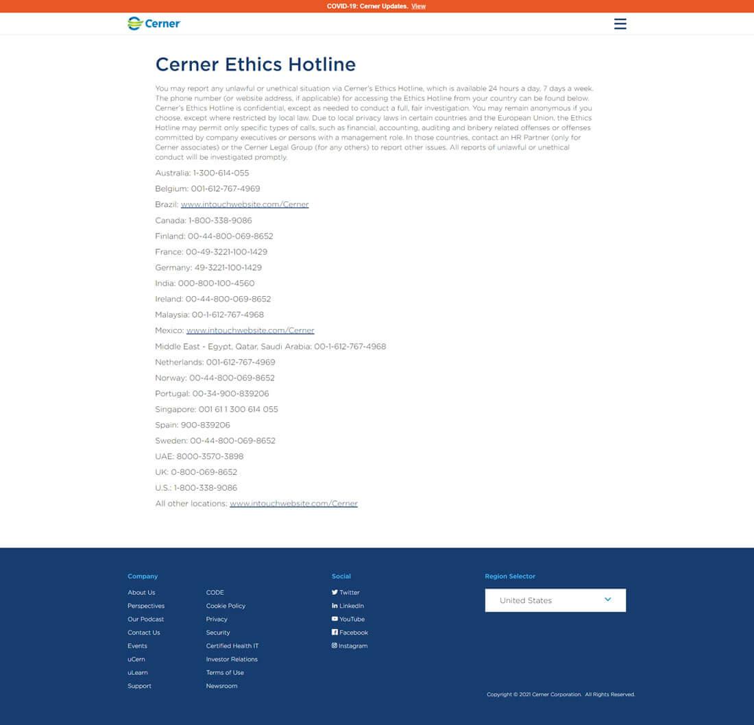 Cerner Ethics Hotline Website