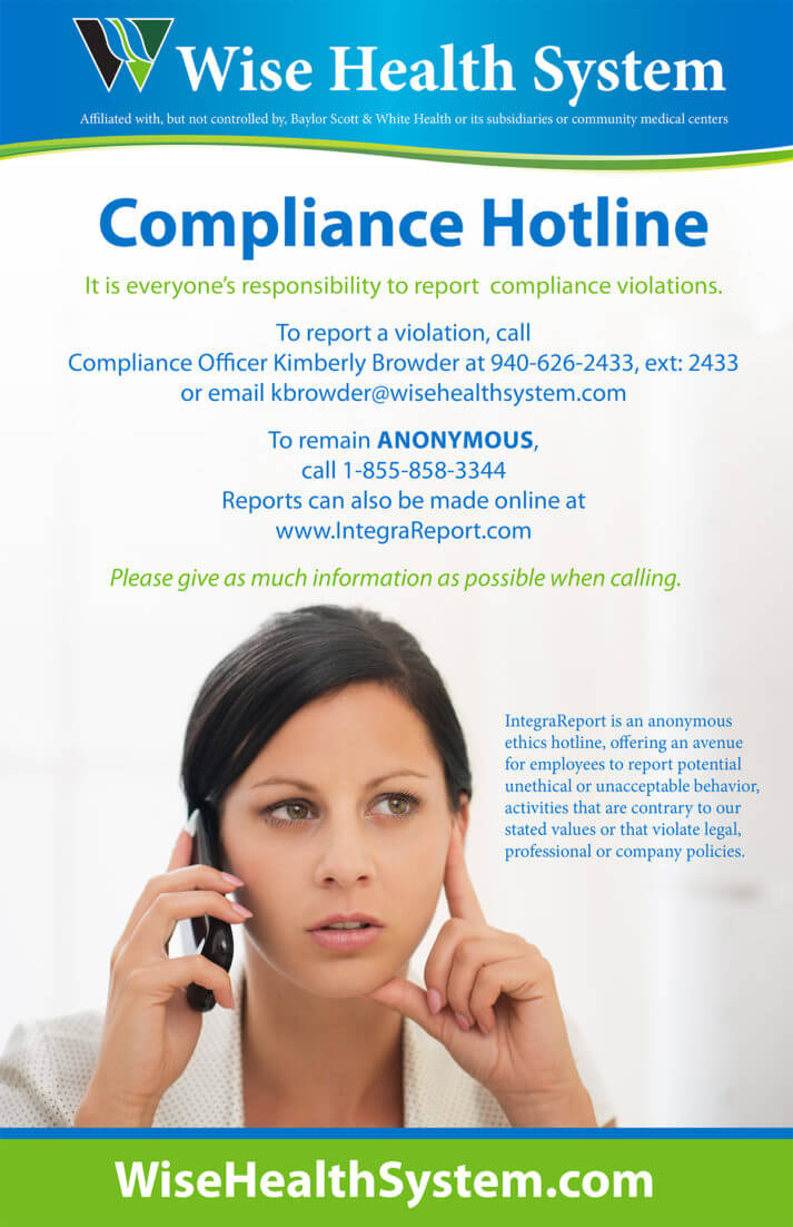 Wise Health System Compliance Hotline Poster