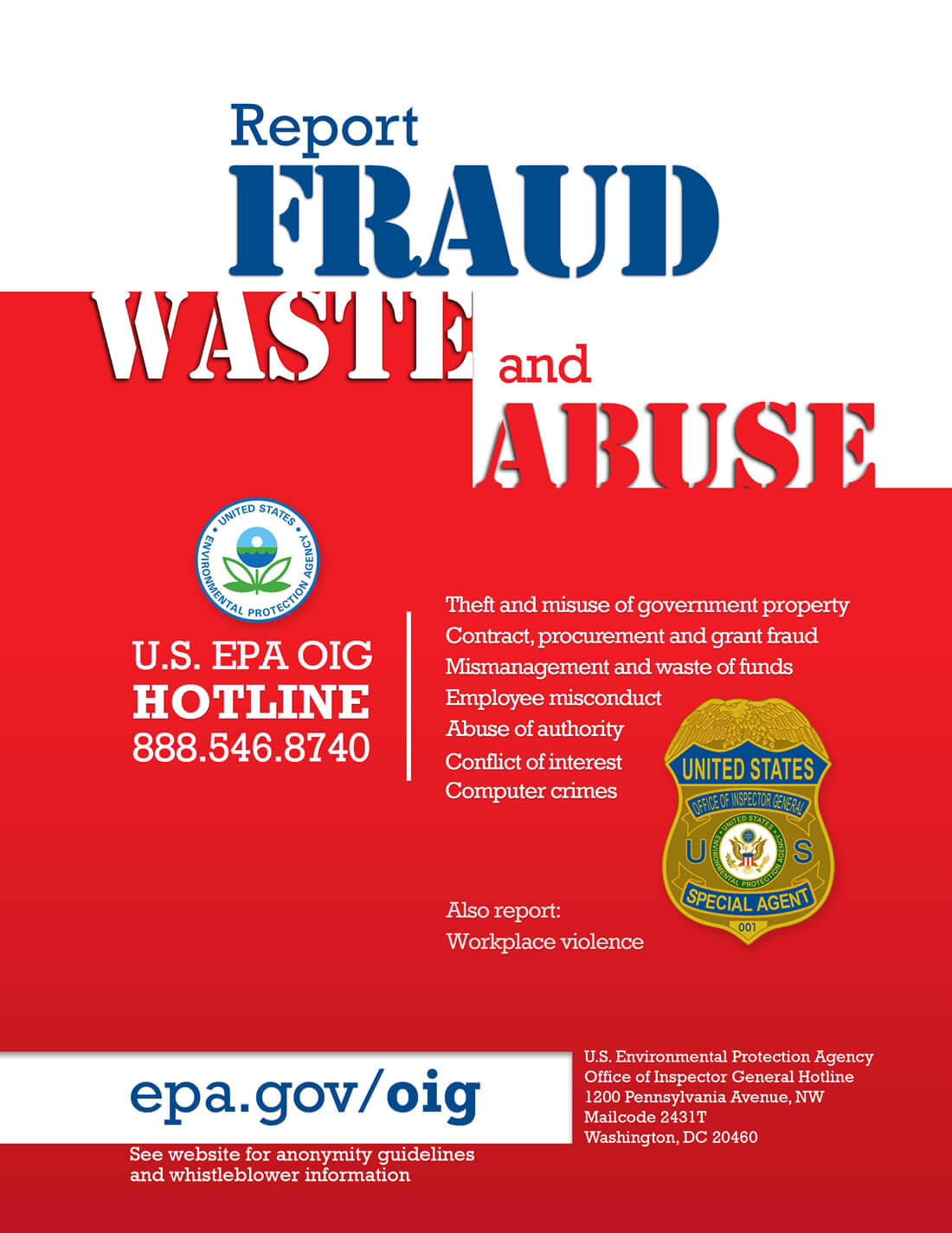 EPA Office of Inspector General Fraud Waste Abuse Hotline Poster