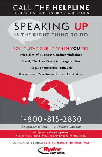 Ryder Anonymous Helpline Poster