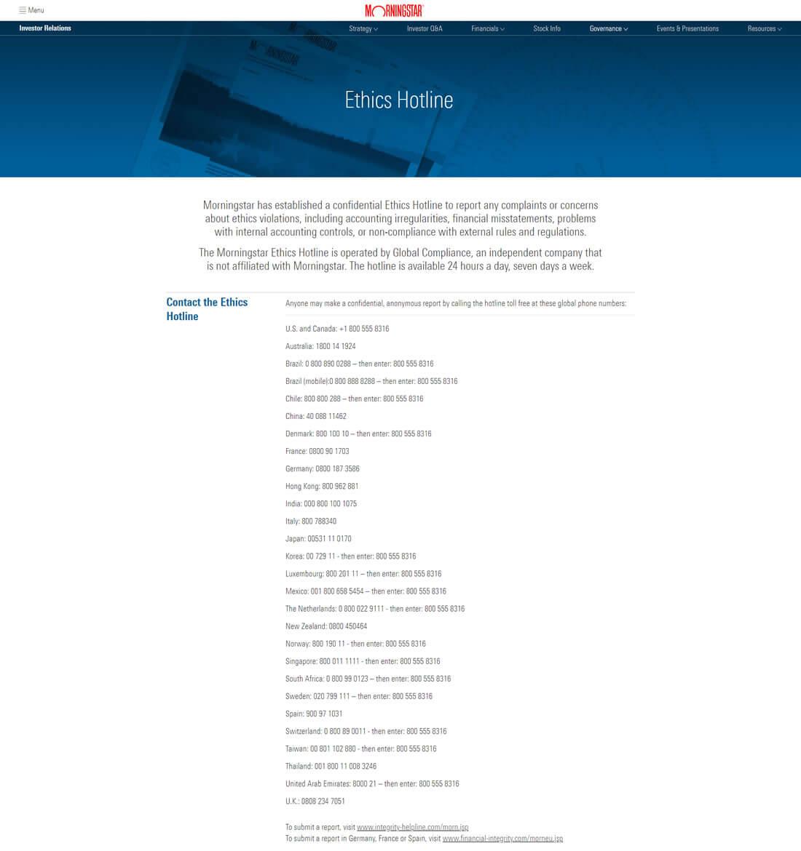 Morningstar Ethics Hotline Website