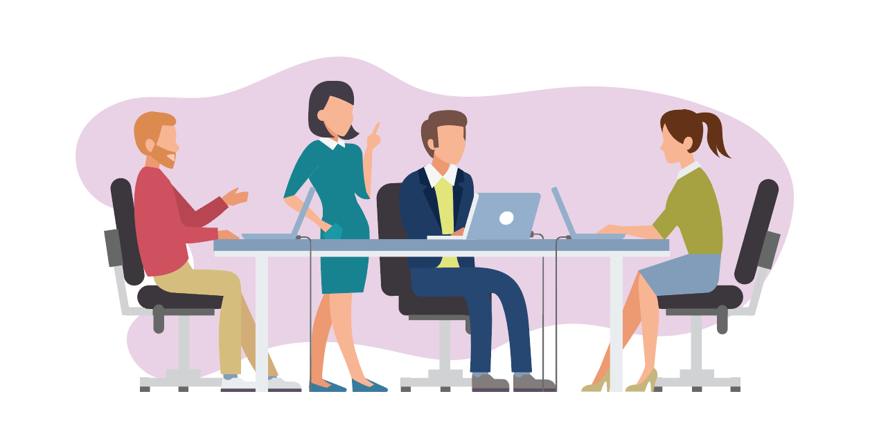 Illustration of team working together in office